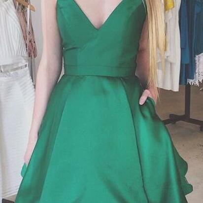 Cute Green Homecoming Dress,V-neck ..