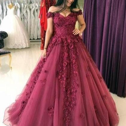 Lace Appliques Prom Dresses ,Ball G..
