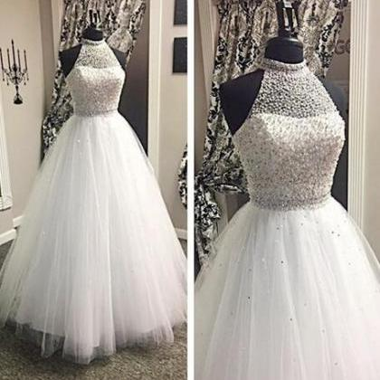 Halter Beading Wedding Dresses, Tul..