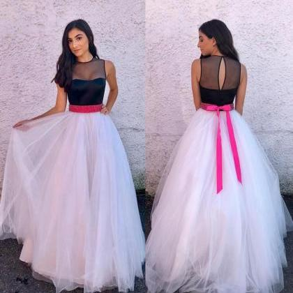 Tulle Long Prom Dress,Elegant Black..