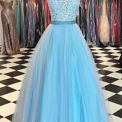 Blue tulle lace Prom Dress,Cheap Pr..