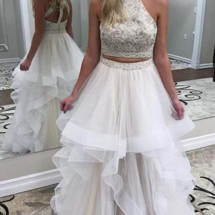 Two Piece Prom Dress,Beads Ivory Po..