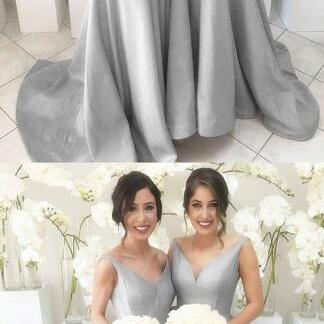 Grey Long Sleeves Prom Dress,cheap ..