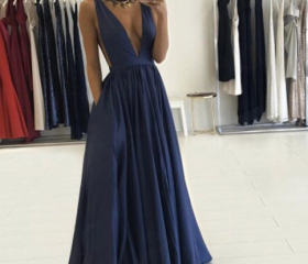 Dark Blue Long Prom ..