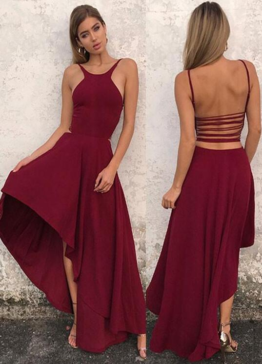 Simple A Line Prom Dress Halter Prom Dress High Low Prom