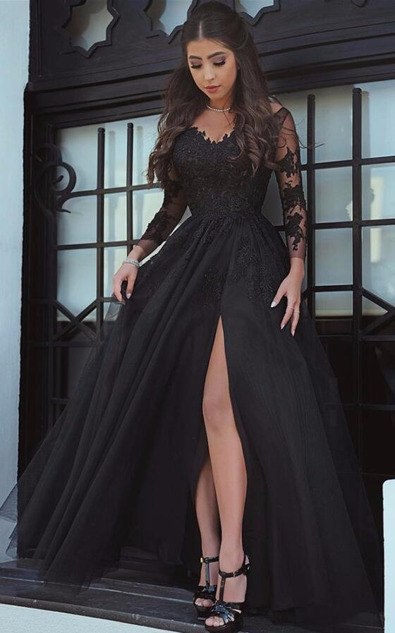 Glamorous Black Slit Lace Evening Dress Long Sleeve Sexy Black Prom