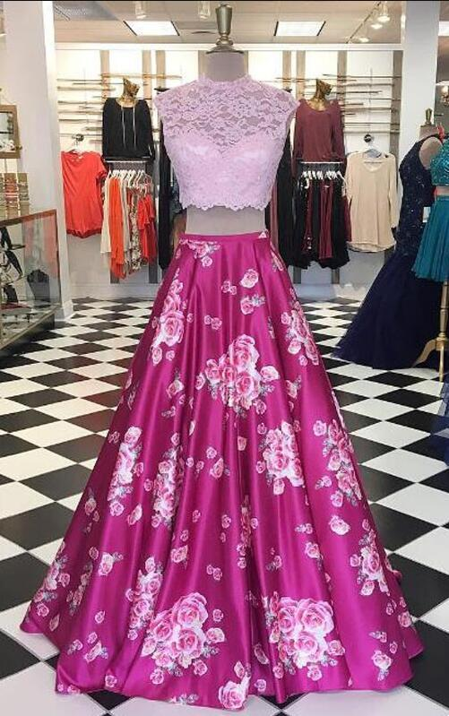 Fabric Print Prom Dresses, Lace- Top Cheap Prom Dresses, Print ...