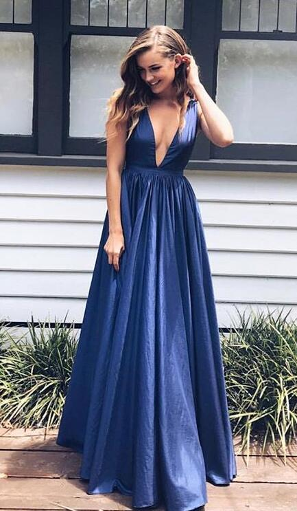 A Line Navy Blue Prom Dresssimple Prom Dress V Neck Long Prom Dressbackless Prom Gownsatin Evening Gowns