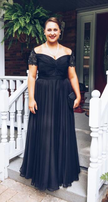 Plus Size Prom Dress,Off-shoulder Black Prom Dress,Long Chiffon Evening  Dress,Formal Occasion Dress