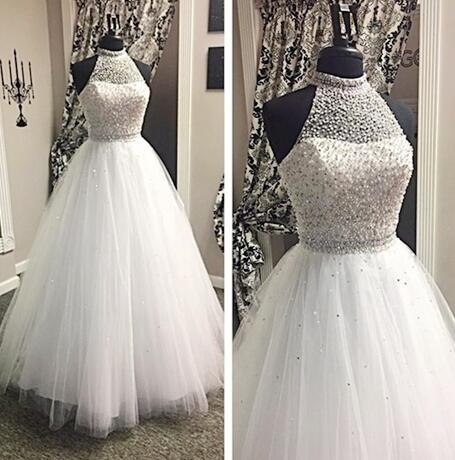 Halter Beading Wedding Dresses, Tulle princess Wedding Dress,Cheap Wedding Dress, Bridal Gown, Floor-Length Long Wedding Dresses,Wedding Dresses