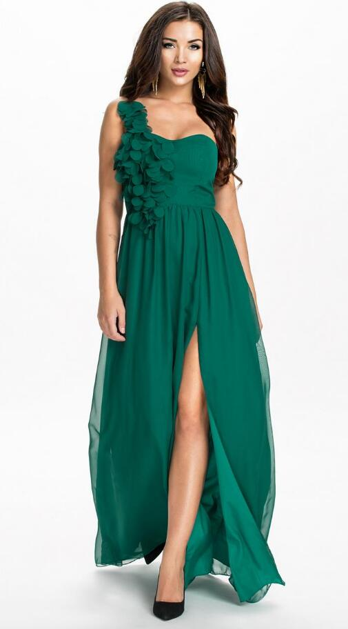 One Shoulder Chiffon Bridesmaid Dresslong Dress In Green And Black