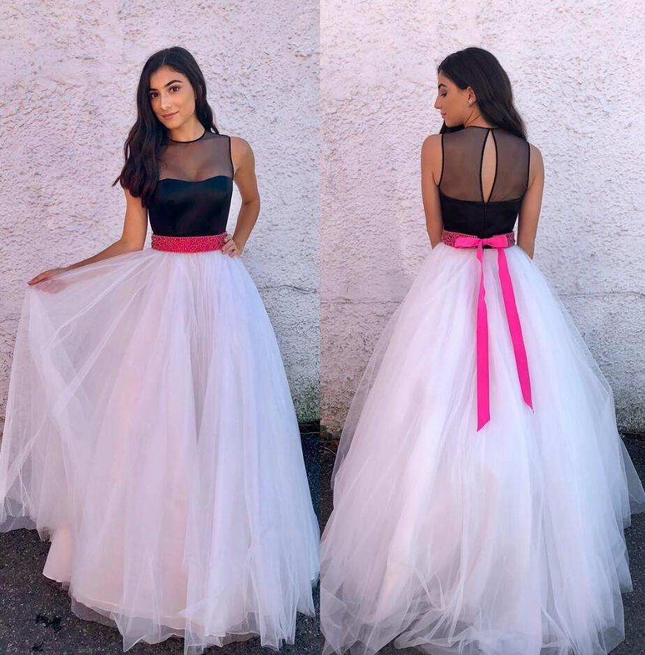 Tulle Long Prom Dress,Elegant Black and White Prom Dresses,Sexy Evening Dress, Long Prom Gowns, Formal Women Dress,Cheap prom dress