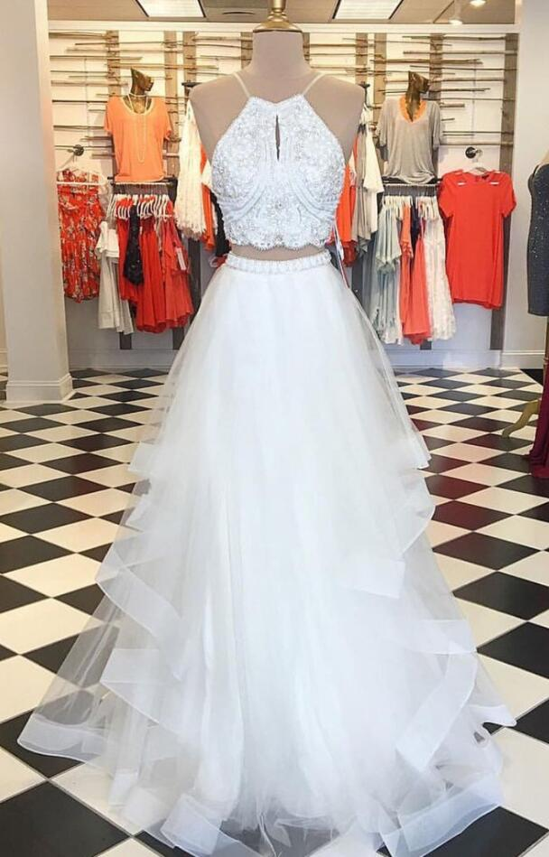 Two Piece Prom Dress, Lace Prom Dress,Tulle Prom Dress,Cheap Prom Dress,Sexy White Prom Dress