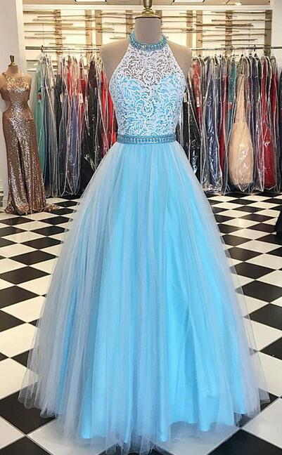 Blue tulle lace Prom Dress,Cheap Prom Dress,Tulle Prom Dress,Sexy Prom Dress,long prom dress, lace evening dress