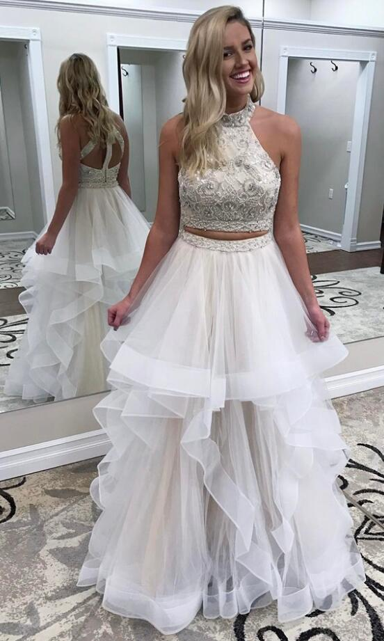 Two Piece Prom Dress,Beads Ivory Porm Dress,Tulle Prom Dress,Sexy Prom Dress,Long Prom Dress,Sexy Evening Dress