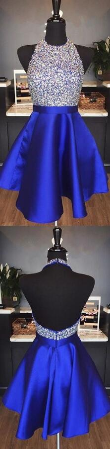 Sparkly Halter Prom Dress,Short Homecoming Dress,Royal Blue Homecoming Dress ,Short Party Dress