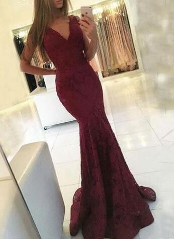 Mermaid Prom Dresses,Long Prom Dresses,burgundy Prom Dress, long evening dress,Prom Dresses,Evening Dress, Backless Prom Dresses,Mermaid Prom Dresses
