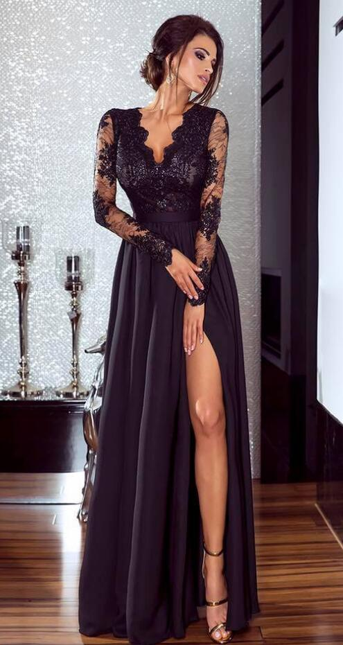 Long Sleeve Prom Dresses,Lace Prom