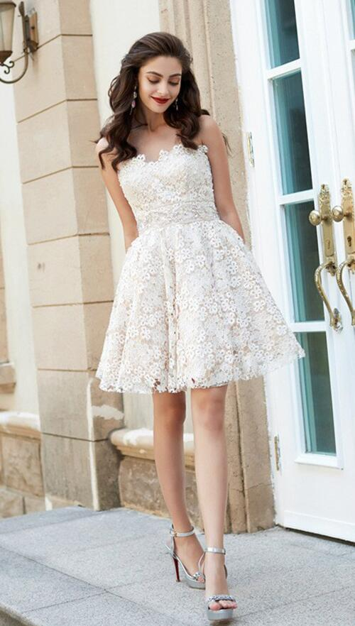Sweetheart Homecoming Dresses,Lace Homecoming Dress,A-Line Princess ...