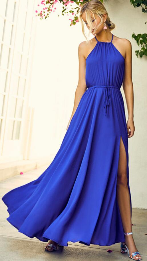 Chiffon Prom Dress Sexy Slit Prom Dresses Royal Blue Maxi Dress Simple Prom Dresses Long Bridesmaid Dresses Cheap Prom Gown