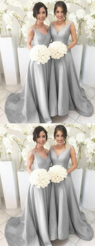 Grey Long Sleeves Prom Dress,cheap prom Dress,Stain Prom Dress,Ball Gowns prom Dresses 2019