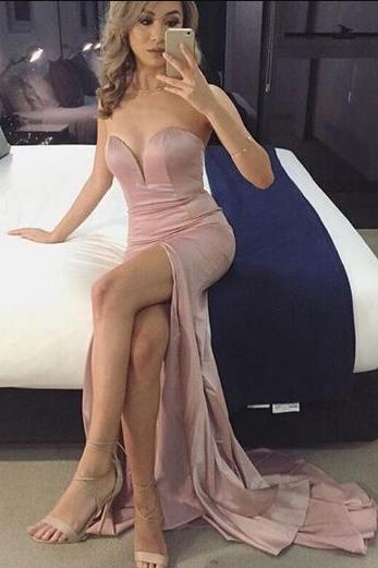Sleeveless Split Side Mermaid Prom Dress,Sexy long Prom Dresses,Long Evening Dress,sexy dress