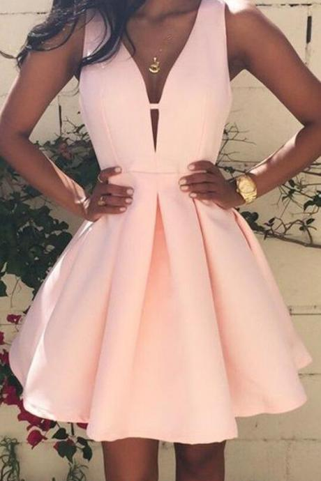 Pink Prom Dress , Pleated, Zipper, V-neck, Sleeveless, Sexy, Homecoming, Cute Mini Dress