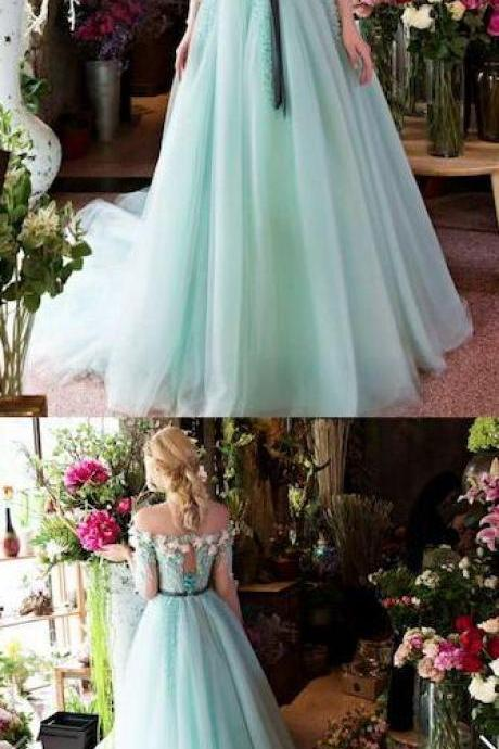 Off The Shoulder Prom Dress,Illusion Floral Prom Dress,Fashion Prom Dress,Sexy Party Dress, New Style Evening Dress