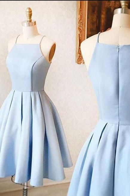 sky blue homecoming dress, mini homecoming dress, satin homecoming dress, for teens