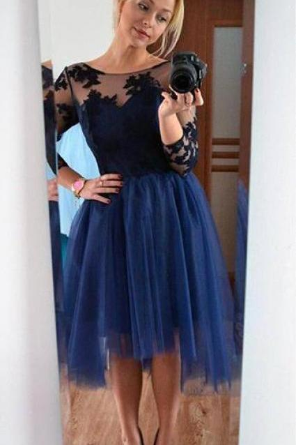 Tulle Homecoming Dress,Short Homecoming Dress,Cute Lace Homecoming Dress,Short Prom Dress,Navy Blue Homecoming Gowns,Sweet 16 Dress