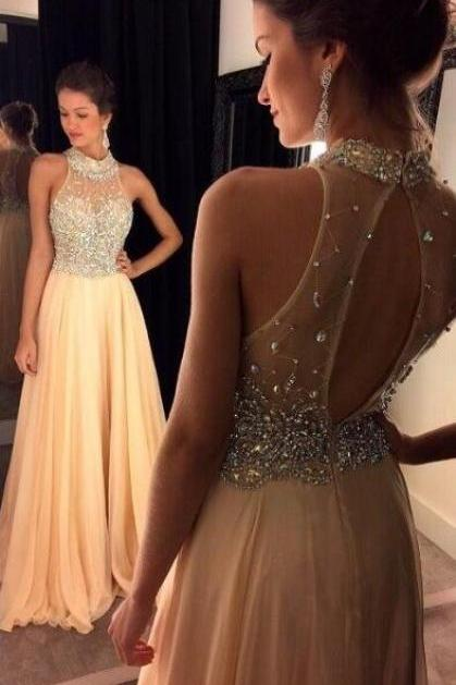 A-line Sleeveless Prom Dresses, Backless Prom Dresses, Prom Dresses Sweep Train, Chiffon with Crystal Beaded Formal Dress, Long Party Gowns