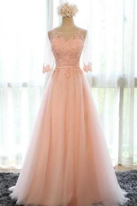 Tulle Scalloped Lace Bridesmaid Dresses,Women Dresses,Party Dress,Long Prom Dress