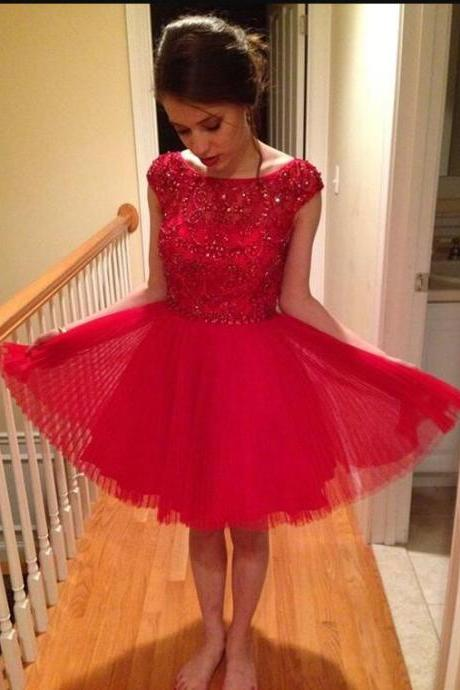 Bateau Cap Sleeves A-line Homecoming Dresses, Tulle Red Homecoming Dresses, Beaded Homecoming Dresses, Short Prom Dress, Short Party Dresses