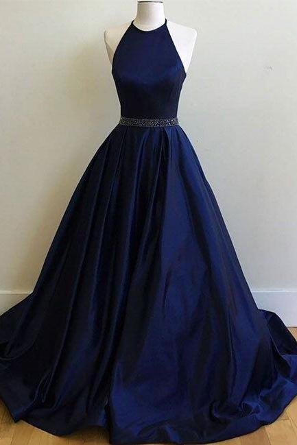 Charming Navy Blue Prom Dress,Sexy Prom Dress, Simple Halter Prom dress, Prom Dress, Ball Gowns ,formal dress