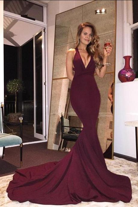 Gorgeous Burgundy Long Prom Dress, 2017 Prom Dress, Mermaid Prom Gowns, Sexy Back Criss Cross Prom Dress, V-neck Long Mermaid Prom Dress with Train