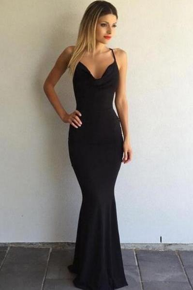 Sexy Spaghetti-Strap Black Prom Dress, Cross-Back Prom Dress, Backless Prom Dress ,Sexy Prom Dress,2017 Prom Dress