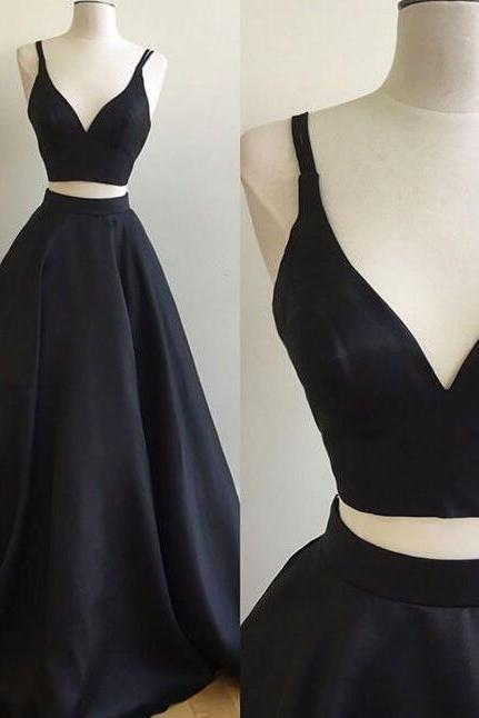 Real Work Two Pieces Black Long Prom Dress, Black Evening Dress, Black Formal Dress, Teen's Party Dress, Senior Prom Dress