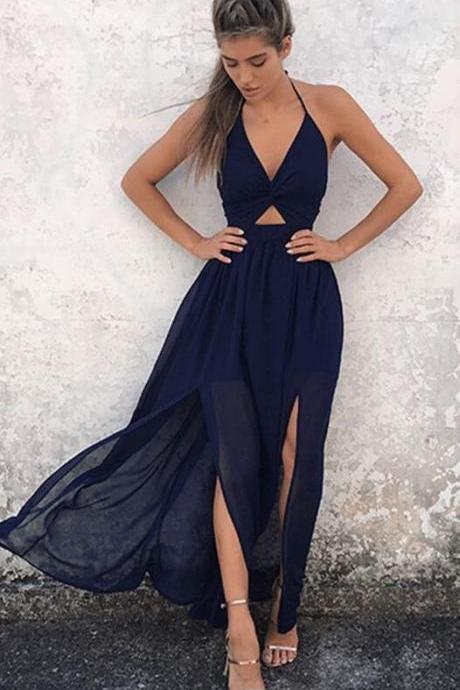 Floor-Length Backless Navy Blue Chiffon Prom Dress, A-Line Halter Sexy Slit Prom Dress, Open Back Prom Dress, Sexy Dress for Prom