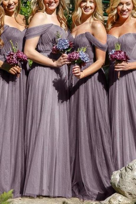 Off-the-Shoulder Simple A-Line Grey Tulle Cheap Floor-Length Bridesmaid Dress
