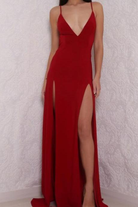 Hot Sexy V-Neck Prom Dress, Cheap Spaghetti Straps Split-Front Red Long Prom Dress with Backless