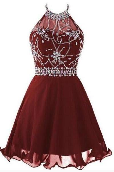 Open Back Beaded Chiffon Wine Homecoming Dress,A line Short Homecoming Dress,Cute Dress For Teens