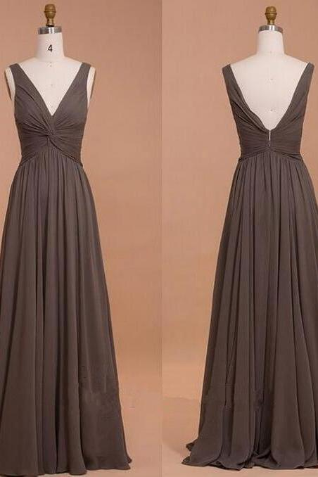 Chocolate Deep V Neck Bridemsiad Dress ,Draped Bodice Chiffon Bridesmaid Dress With V Back