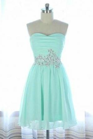 Simple Cute Chiffon Sweetheart Prom Dresses, Short Prom Dresses, Homecoming Dresses, Graduation Dresses