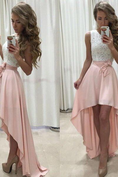 Stylish High Low Homecoming Dress,Lace Short Prom Dress,Cheap Prom Dress,Lace Evening Dress with Bow