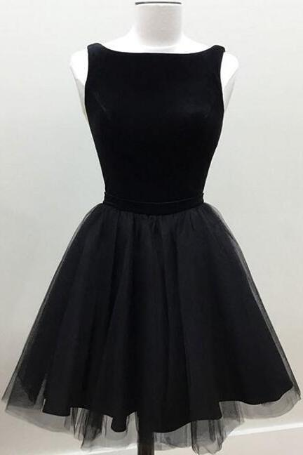 Black Bateau Neck Sleeveless Short Tulle Homecoming Dress, Formal Dress