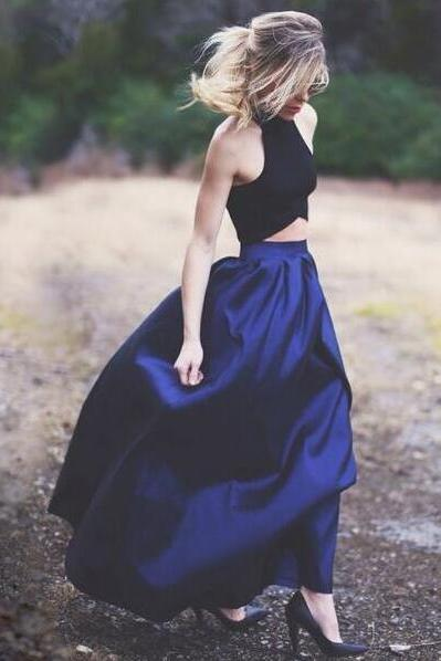 Charming Royal Blue Prom Dress, Two Piece Prom Dress,Halter Sleeveless Party Dress,Women Homecoming Dress