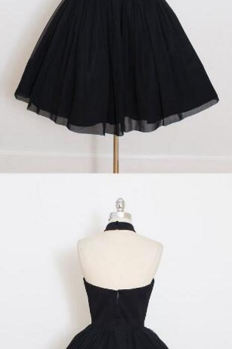 Black Chiffon Prom Dress,2017 Halter Homecoming Dress,Custom Made Short Mini Party Dress,High Quality