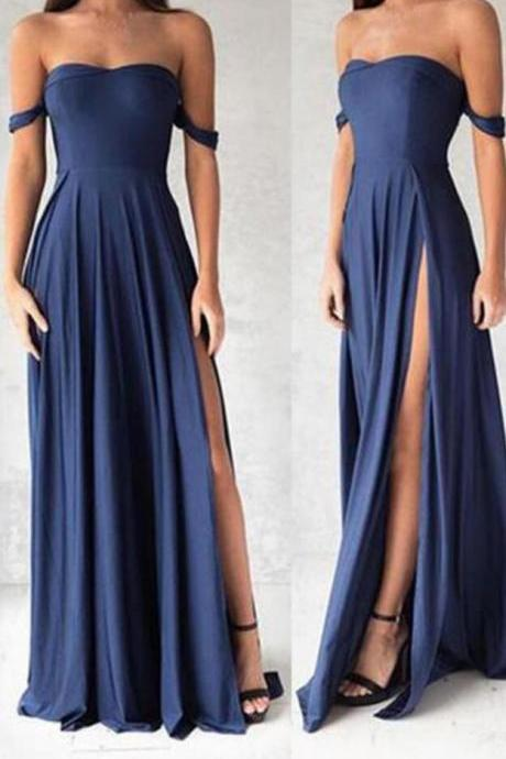off-shoulder sexy blue chiffon prom dress, sweetheart A-line long prom dress,simple evening dress