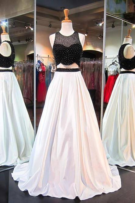 Two Pieces Prom Dresses, Sexy Black and White Party Prom Dress, A line Custom Long Prom Dress, Cheap Party Prom Dress