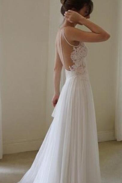 Floor Length Backless Lace Wedding Dresses,Lace Wedding Dresses, Backless Wedding Dresses,Spaghetti straps Prom Dresses